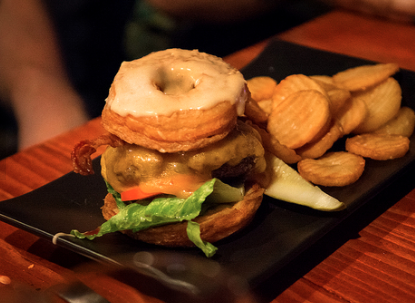 Elk burger served on a Doughssant!