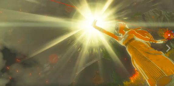 Zelda defending Link against a Guadian attack?
